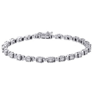 Jewelry For Less .925 Sterling Silver Fanuk Bezel Set Diamond Mom Tennis Link Bracelet 7.25 1 Ct