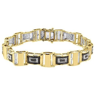 Jewelry For Less Black Diamond Statement Bangle Bracelet Yellow Gold 8.5 Pave Domed Link 1.27 Ct