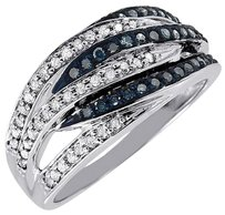 Other Blue Diamond Cocktail Band 10k White Gold Round Fashion Right Hand Ring 0.42 Ct.