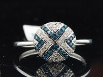 Jewelry For Less Blue Diamond Designer Ring 10k White Gold Cocktail Fashion Band 0.15 Ct.