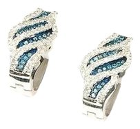 Blue Diamond Huggies Ladies 10k White Gold Round Pave Hoop Earrings 13 Tcw.