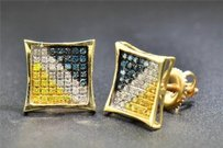 Jewelry For Less Blue Diamond Studs 10k Yellow Gold 13 Ct Yellow Pave Kite Shaped Earrings