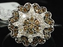 Jewelry For Less Brown Diamond Flower Cocktail Ring 10k White Gold Designer Fashion Band 0.66 Ct.