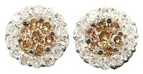 Brown Diamond Flower Earrings 14k Yellow Gold Round Cut Designer Studs 1.53 Tcw.