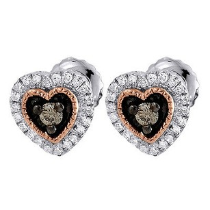 Jewelry For Less Brown Diamond Heart Earrings 10k Two Tone Gold Round Cut Ladies Studs 0.21 Tcw.
