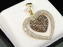 Jewelry For Less Brown Diamond Heart Pendant 10k Yellow Gold Round Pave Love Charm 0.99 Tcw.
