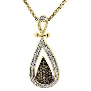 Jewelry For Less Brown Diamond Teardrop Pendant 10k Yellow Gold Charm Necklace With Chain 14 Tcw