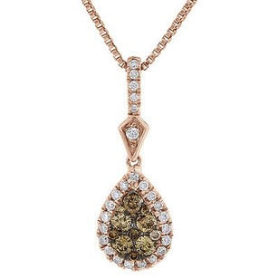 Jewelry For Less Brown Diamond Teardrop Pendant Ladies Rose Gold Charm Necklace W Chain 12 Ct.