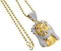 Diamond,Jesus,Face,Pendant,10k,Yellow,Gold,Mini,Pave,Religious,Charm,3.41,Ct.