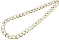 ,10k,Yellow,Gold,Diamond,Cut,Pave,Flat,Cuban,Chain,7.75,Mm,Necklace,22,24,Inch