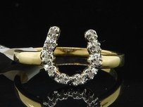 Ladies 10k Yellow Gold Horseshoe Diamond Engagement Fashion Cocktail Ring .05 Ct