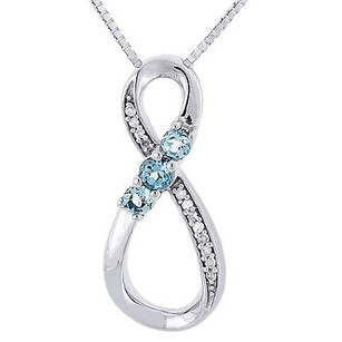 Jewelry For Less Created Blue Topaz Diamond Infinity .925 Sterling Silver Pendant W Chain .34 Ct