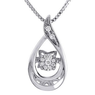 Jewelry For Less Dancing Diamond Teardrop Pendant Ladies Necklace 10k White Gold W Chain .06 Ct.