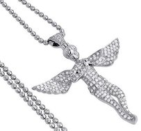 Jewelry For Less Diamond Angel Pendant 10k White Gold Fully Iced Pave Charm Chain Set 1.05 Ct.