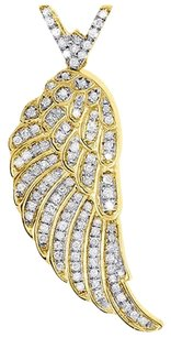 Diamond Angel Wing Pendant 10k Yellow Gold Mens Round Cut 1.75 Charm 0.75 Ct.