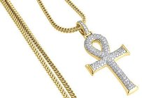 Jewelry For Less Diamond Ankh Cross Pendant Yellow Gold Egyptian Charm W Franco Chain 1.55 Ct.