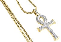Diamond Ankh Cross Pendant Yellow Gold Egyptian Charm W Franco Chain 1.55 Ct.