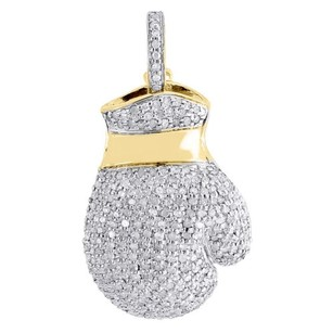 Jewelry For Less Diamond Boxing Glove Pendant Mens 10k Yellow Gold Round Pave 3d Charm 1.20 Tcw.
