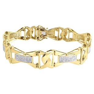 Diamond Bracelet Mens 10k Yellow Gold Round Cut Pave Designer Link 1 Tcw.