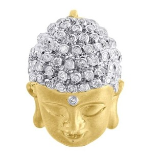 Jewelry For Less Diamond Buddha Pendant Mens 10k Yellow Gold Round Pave Head Charm 0.44 Tcw.