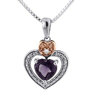 Jewelry For Less Diamond Created Amethyst Heart 10k Two Tone Gold Pendant With Chain 0.76 Tcw