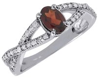 Diamond Created Oval Garnet 10k White Gold Fashion Cocktail Ring 0.83 Tcw