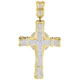 Jewelry For Less Diamond Cross Charm 10k Yellow Gold Mens Round Cut Fashion Pave Pendant 1 Ct.