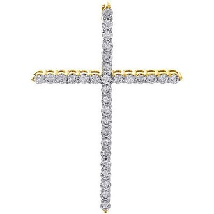 Jewelry For Less Diamond Cross Pendant Ladies 14k Yellow Gold Fashion Religious Charm 0.49 Ct.