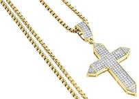 Diamond Cross Pendant Yellow Gold Mens Pave Charm 0.42 Ct. Round Box Chain Set