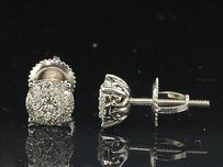 Jewelry For Less Diamond Earrings 14k White Gold Round Cut Pave Solitaire Design Studs 12 Tcw.
