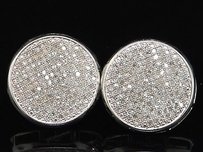 Jewelry For Less Diamond Earrings Mens 10k White Gold Round Pave Circle 17mm Studs 1.10 Tcw.