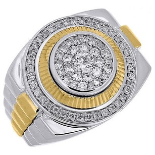 Jewelry For Less Diamond Fashion Pinky Ring Mens 10k Two Tone Gold Fluted Bezel Round Cut 1.06 Ct