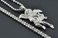 Jewelry For Less Diamond Floating Angel Pendant .925 Sterling Silver Charm Moon-cut Chain