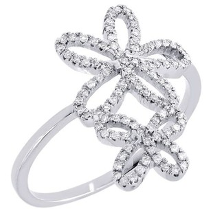 Other Diamond Flower Cocktail Ring 10k White Gold Round Pave Fashion Band 0.20 Tcw.