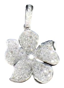 Diamond Flower Pendant 10k White Gold Solitaire Round Cut Ladies Rose Charm