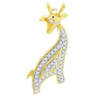 Diamond Giraffe Pendant In 10k Yellow Gold Ladies Fashion Slide Charm 0.10 Ct.
