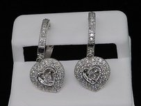 Diamond Heart Danglers Ladies 10k White Gold Round Pave Earrings 0.76 Tcw.