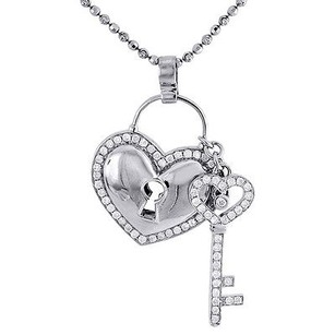 Jewelry For Less Diamond Heart Lock Key Pendant 10k White Gold Charm W Beaded Chain 1.45 Ct.