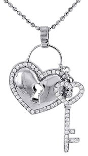 Diamond Heart Lock Key Pendant 10k White Gold Charm W Beaded Chain 1.45 Ct.