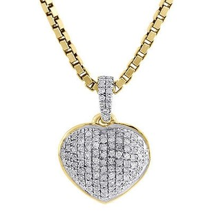 Jewelry For Less Diamond Heart Pendant 14k Yellow Gold Domed Charm Necklace With Chain 0.18 Tcw.