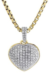Diamond Heart Pendant 14k Yellow Gold Domed Charm Necklace With Chain 0.18 Tcw.