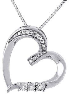 Diamond Heart Pendant .925 Sterling Silver Love Charm Necklace W Chain 0.03 Ct.