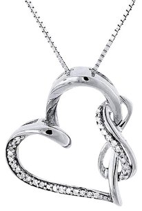 Other Diamond Heart Pendant Sterling Silver Infinity Charm Necklace With Chain .12 Ct