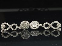Jewelry For Less Diamond Infinity Flower Earrings 10k White Gold Round Pave Danglers 1.31 Tcw.