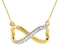 Other Diamond Infinity Heart Pendant Ladies 10k Yellow Gold Pave 18 Necklace 0.10 Tcw