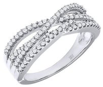 Jewelry For Less Diamond Infinity Style Wedding Band 10k White Gold Round Cut Ladies Ring 0.32 Ct