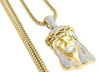 Jewelry For Less Diamond Jesus Face Brushed Finish Pendant 10k Gold Charm W Franco Chain 1.60 Ct