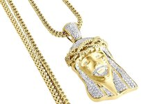 Diamond Jesus Face Brushed Finish Pendant 10k Gold Charm W Franco Chain 1.60 Ct