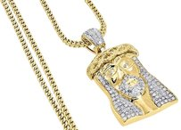 Other Diamond Jesus Face Pendant 10k Yellow Gold Solid Charm W Franco Chain 1 Ct.