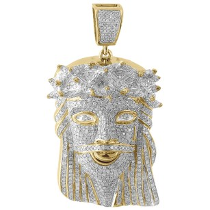 Jewelry For Less Diamond Jesus Face Piece Pendant 10k Yellow Gold Fully Iced Pave Charm 3.70 Ct.